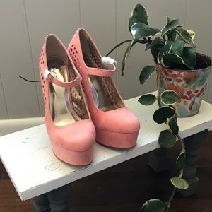 Qupid Laser Cut Blush Mary Jane Pumps 😍💗NWOT